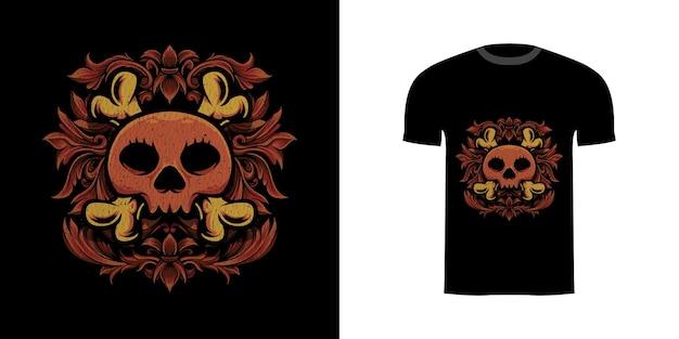 Tshirt ontwerp illustratie schedel met gravure ornament