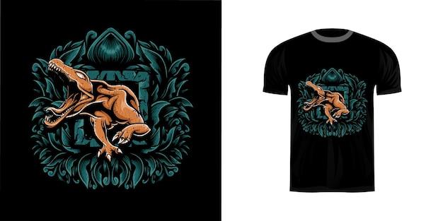 Tshirt ontwerp illustratie t rex met gravure ornament