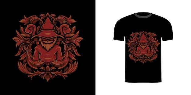 Tshirt ontwerp illustratie tovenaar met gravure ornament