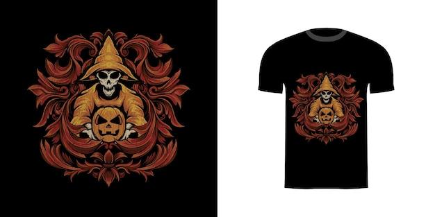 Tshirt ontwerp illustratie tovenaar schedel en pompoen met gravure ornament