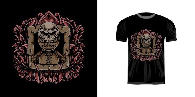 Tshirt ontwerp illustratie voodoo met gravure ornament
