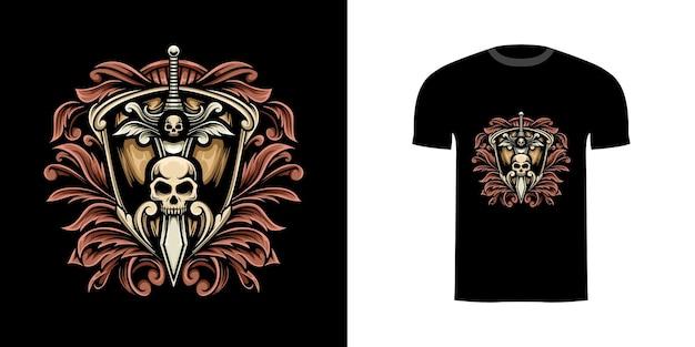 Tshirt ontwerp illustratie zwaard en schild met gravure ornament