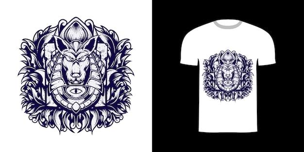 Tshirt ontwerp lijn kunst illustratie anubis met textuur grunge