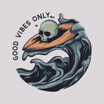 Tshirt ontwerp schedel doen surfen goede vibes alleen in zwarte achtergrond vintage illustratie