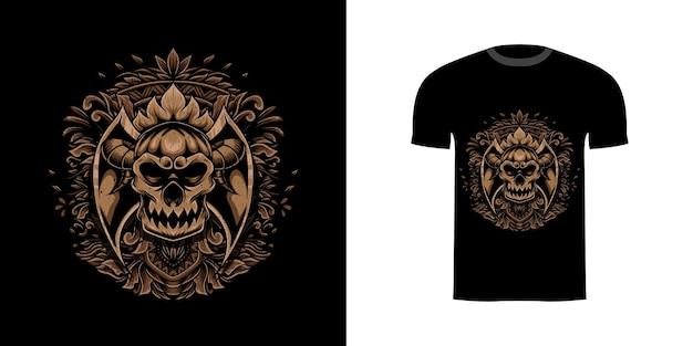 Tshirt ontwerp schedel illustratie met gravure ornament