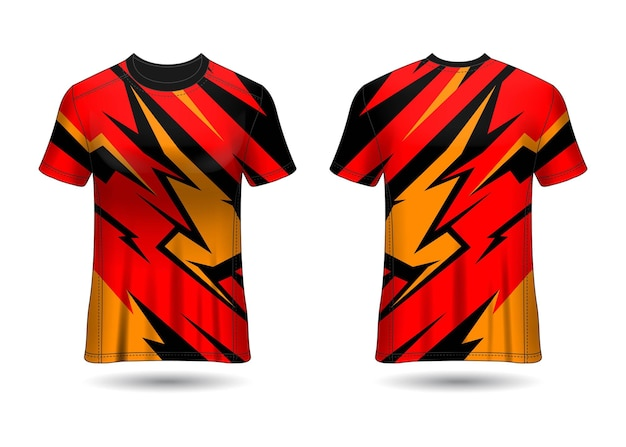 Tshirt sport design racing jersey voor clubuniform voor- en achteraanzicht