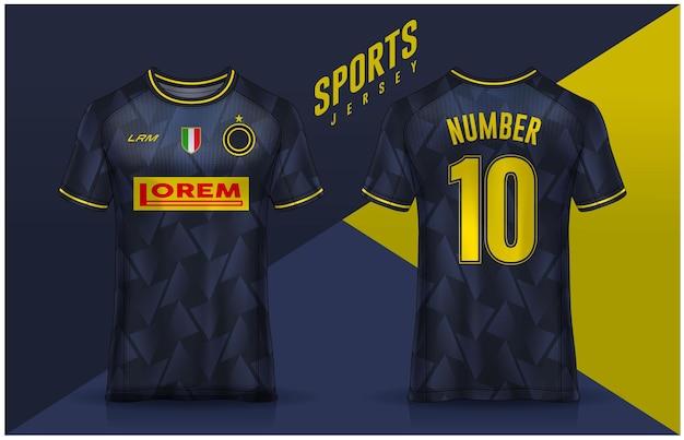 Tshirt sport ontwerpsjabloon voetbaltrui voor voetbalclub uniform voor- en achteraanzicht