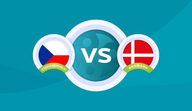 Tsjechië vs denemarken match vectorillustratie voetbal 2020 kampioenschap