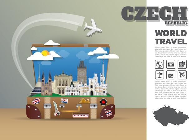 Tsjechische landmark wereldwijde reizen en reis infographic bagage.