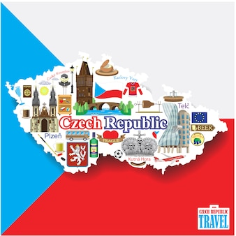 Tsjechische republiek achtergrond. seticons en symbolen in de vorm van een kaart