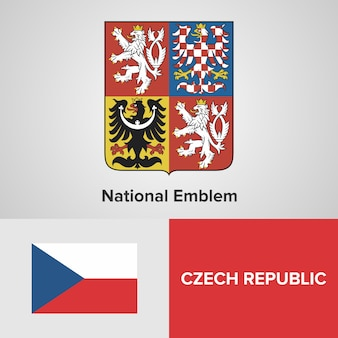 Tsjechische republiek nationale embleem en vlag