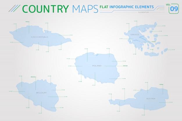 Tsjechische republiek, polen, oostenrijk, belgië en griekenland vectorkaarten