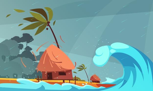 Tsunami op de oceaan met bungalow en tropische kust