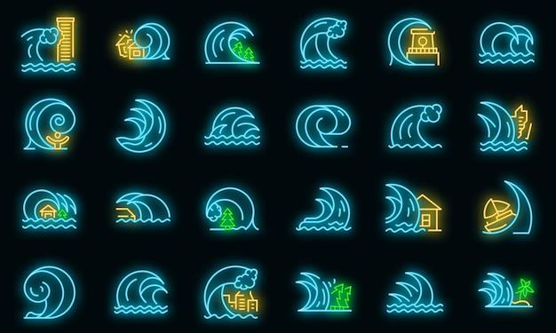 Tsunami pictogrammen instellen. overzicht set van tsunami vector iconen neon kleur op zwart