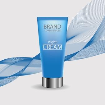 Tube crème. pakketontwerp cosmetische producten. sjabloon voor reclame of tijdschrift achtergrond. blauwe fles op een golvende lijnachtergrond. vector illustratie.