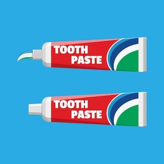 Tube met geperste pasta. pakket met tandpasta