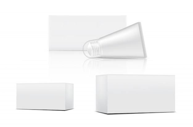 Tube mock up realistic cosmetic en box 3 side voor skincare-merchandise op geïsoleerde witte achtergrond illustratie. gezondheidszorg en medische conceptontwerp.