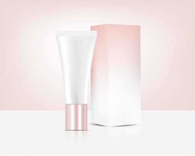 Tube realistische rose gold perfume lotion cosmetic en box voor huidverzorging productillustratie. gezondheidszorg en medische conceptontwerp.
