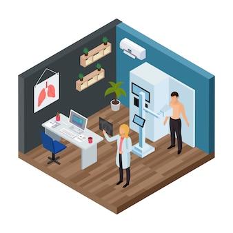 Tuberculose preventie isometrisch concept met longen test