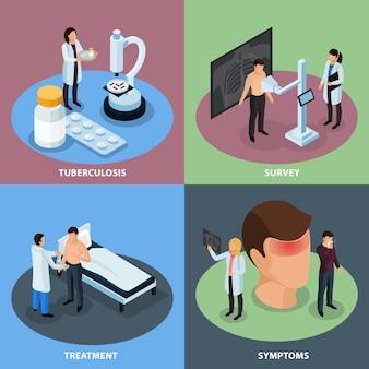 Tuberculose preventie isometrisch concept