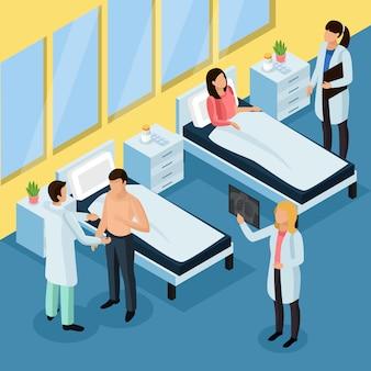 Tuberculosepreventie isometrische achtergrond met ziekenhuisbehandeling
