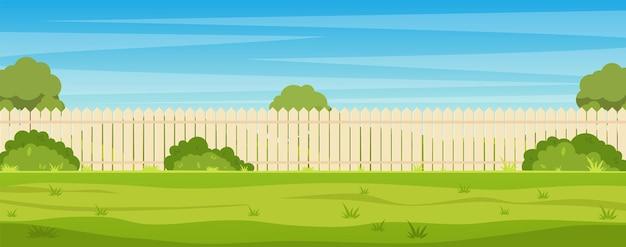 Tuin achtertuin met houten hek