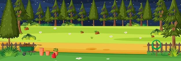 Tuin bij nachtelijke horizontale scène