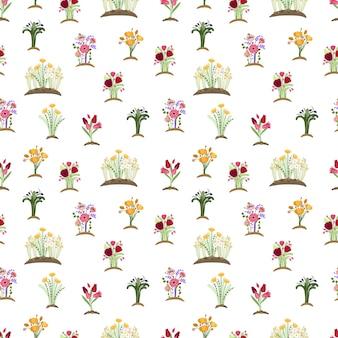 Tuin bloemen naadloze patroon.
