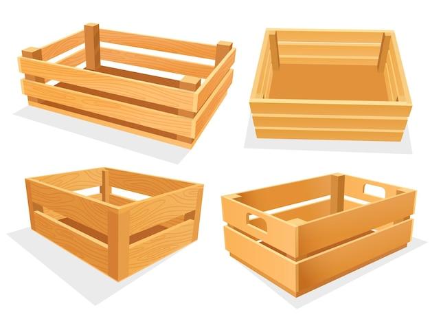 Tuin houten kist, lege isometrische mand voor magazijn. houten kisten of open koffers. lege isometrische containers voor opslagpakket of huishouden.