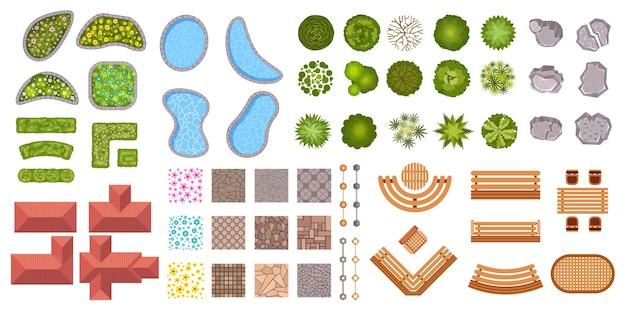 Tuin landschap design elementen luchtfoto bovenaanzicht. bush hek, bloemen, vijvers, huizen en stoep pictogrammen. parkplan kaart van bovenaf vector set. illustratie van architectonisch park, plan tuinieren