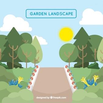 Tuin landschap met een pad en bloemen