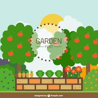 Tuin met een bakstenen muur in plat design