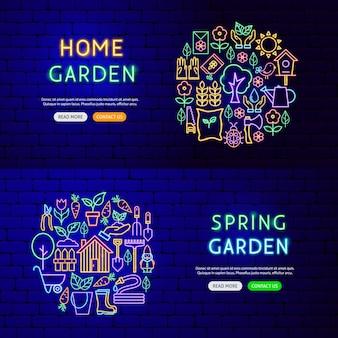 Tuin natuur banners. vectorillustratie van voorjaarspromotie.