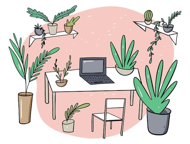 Tuin op de werkplek vlakke afbeelding in cartoon stijl. geïsoleerd op witte achtergrond.