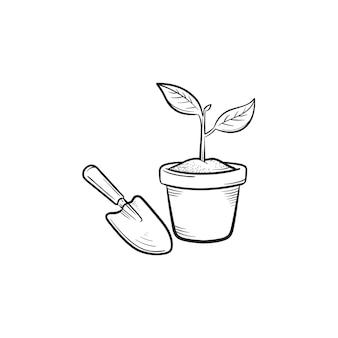 Tuin troffel en pot hand getrokken schets doodle pictogram. pot met plant en tuin troffel vector schets illustratie voor print, web, mobiel en infographics geïsoleerd op een witte achtergrond.