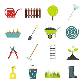 Tuin vlakke elementen instellen. kleurensymbolen met gras, waterpannen, gieter