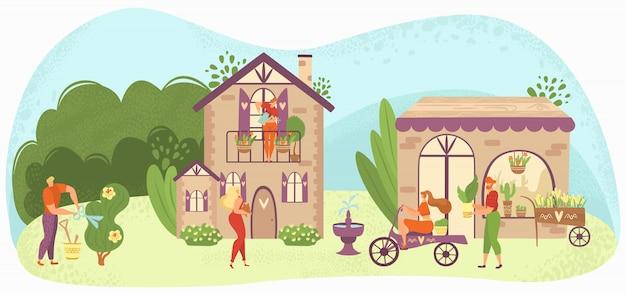 Tuin zorg mensen tuinieren, groeien en verzorgen van planten en bloemen in de buurt van huizen, tuinlieden illustratie.