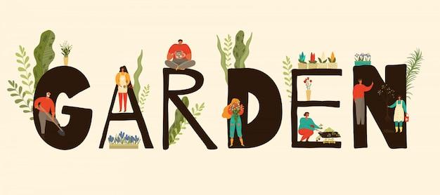 Tuinbanner met mensenkarakters die, installaties en tuinliedenillustratie tuinieren kweken en verzorgen.