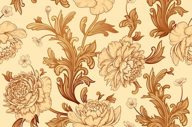 Tuinbloemen pioenen en barokke decorelementen. naadloos patroon.
