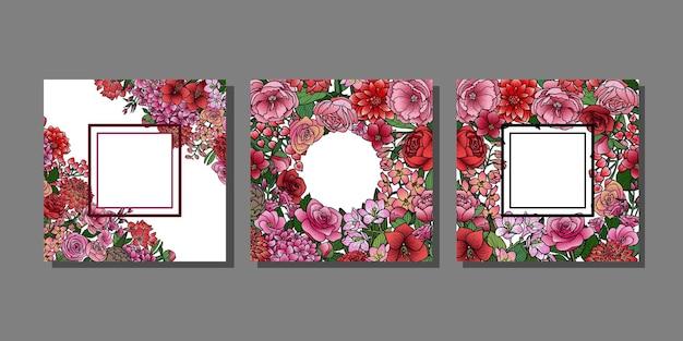 Tuinbloemen-sjablonen ingesteld met tekstplaats