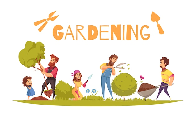 Tuinbouw cartoon samenstelling volwassenen en kind tijdens verschillende landbouwactiviteiten op witte achtergrond