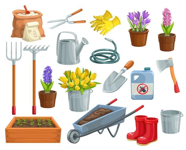 Tuingereedschap en bloemen pictogrammen. rubberen laarzen, zaailing, tulpen, tuinblik en snijder.