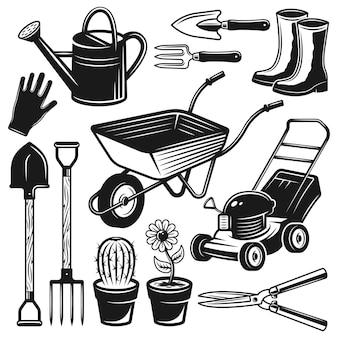 Tuingereedschap en uitrusting set objecten in vintage zwart-wit stijl
