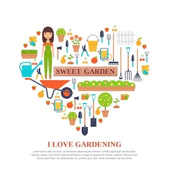 Tuingereedschap gestileerd in hartvorm. vlakke afbeelding. tuinieren pictogrammen.