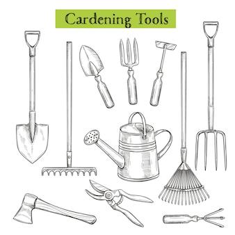 Tuingereedschap illustratie in retro schetsstijl. schop, hark en snoeischaar. gieter, hakmolen, snoeischaar, bijl en vorken.