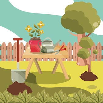 Tuingereedschap in de achtertuin