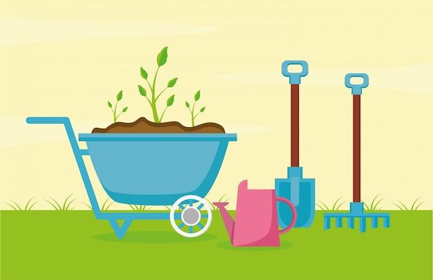 Tuingereedschap in de tuin