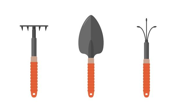 Tuingereedschap. schop, hark en handcultivator.