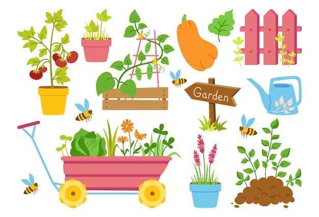 Tuingereedschap tekenfilm reeks hek groentezaailingen en rubberen houten pijlwijzer uitrusting werkinstrument voor landbouw cultiveren