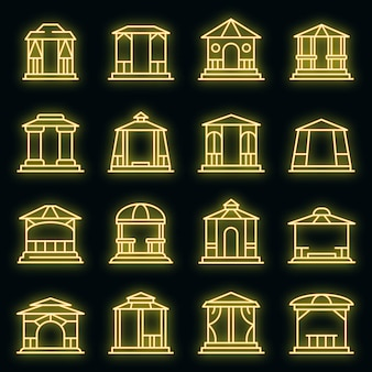 Tuinhuisje pictogrammen instellen. overzichtsreeks prieel vectorpictogrammen neonkleur op zwart